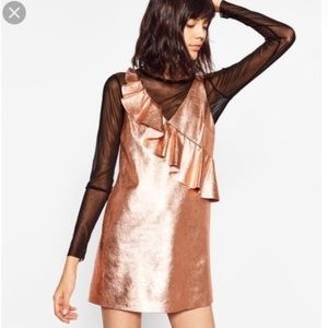 Rose Gold Zara Trafaluc Metallic Party Dress